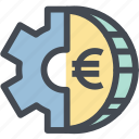coin, euro, finance, gear, mechanism, money, money settings icon