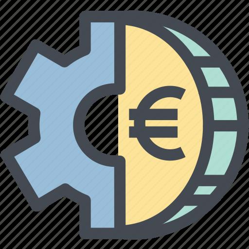 coin, euro, finance, gear, mechanism, money, money settings icon