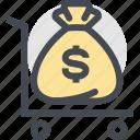cash, coin, currency, dollars, finance, money, money bag