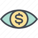 coin, dollar, finance, money, money eye, see, view icon