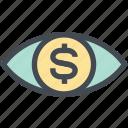 coin, dollar, finance, money, money eye, see, view