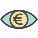 coin, euro, finance, money, money eye, see, view