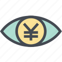 coin, finance, money, money eye, see, view, yen icon