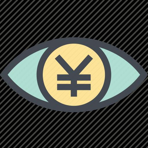 coin, finance, money, money eye, see, view, yen icon