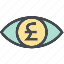 coin, finance, money, money eye, pound, see, view