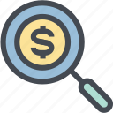 business, finance, find, find money, glass, money, search icon