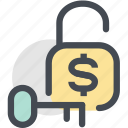 business, cash, finance, key, lock, money, money unlock icon