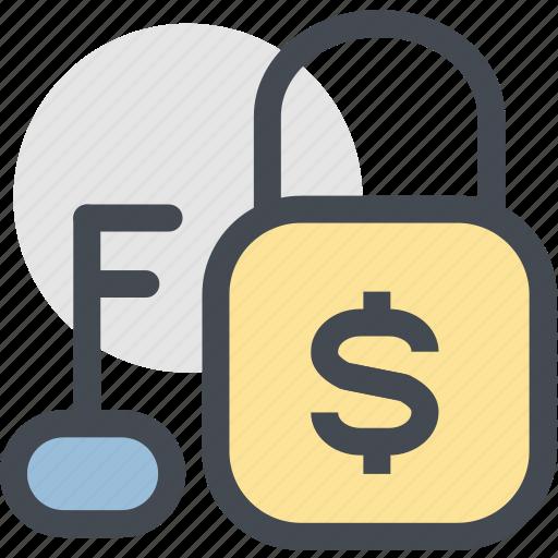 business, cash, finance, key, lock, money, money unlock icon