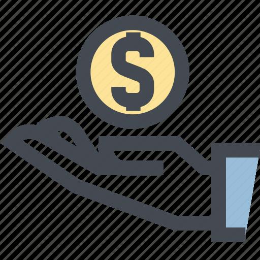 bonus, business, hand, money, offering, savings, shop icon