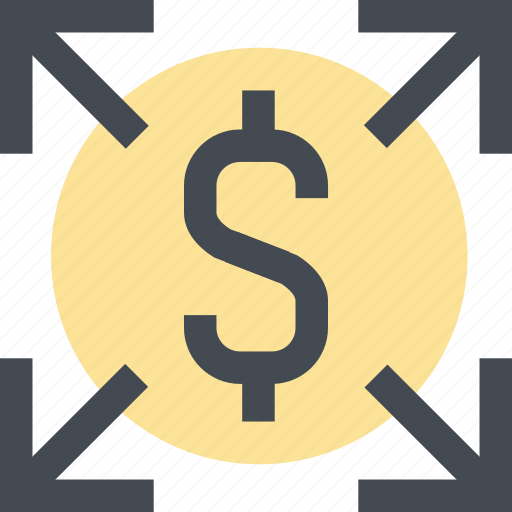 distribute, expand, finance, growth, increase money, money, up icon