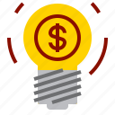 bulb, dollar, idea icon