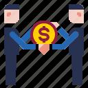 businessman, coin, dollar icon