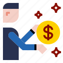 businessman, coin, dollar