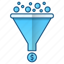 coins, conversion, flow, funnel, with icon