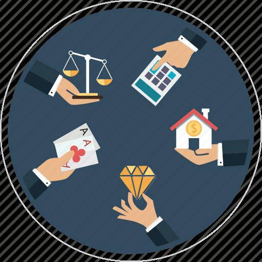 accountants, casinos, dealers in precious metals, dealers in precious stones, lawyers, notaries, real estate agents icon