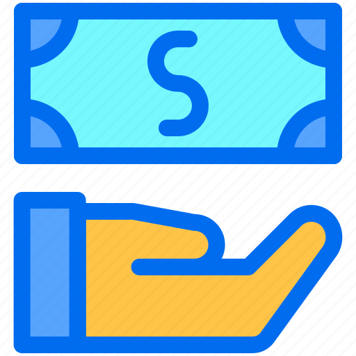 business, finance, hand, money, payment icon