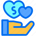 care, charity, donation, love, money icon