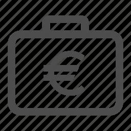 euro, money, suitcase icon