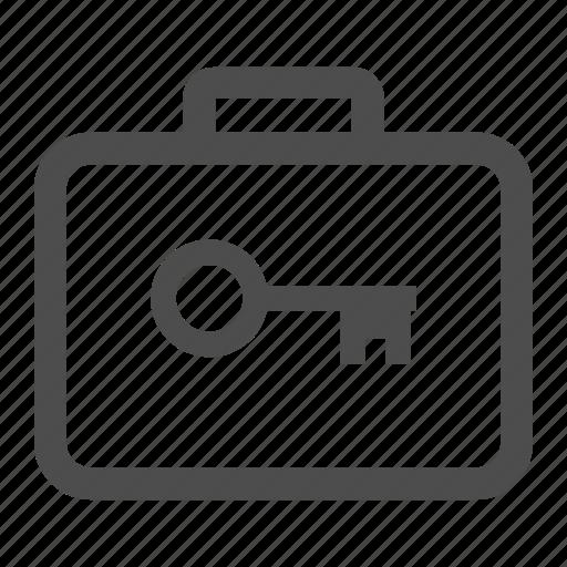 key, locked, money, suitcase icon
