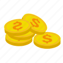 business, coins, dollars, ecommerce, financial, money, pay, shop icon