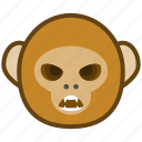 angry, ape, cartoon, emotions, monkey, smile icon
