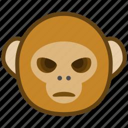 ape, bad, cartoon, emotions, monkey, smile icon