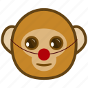 ape, cartoon, clown, emotions, monkey, smile icon