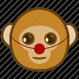 ape, cartoon, clown, emotions, monkey, smile icon