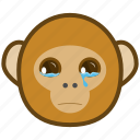 ape, cartoon, cry, emotions, monkey, smile, tear icon