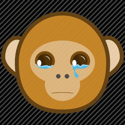 ape, cartoon, cry, emotions, monkey, smile, tear icon
