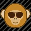 ape, cartoon, cool, emotions, glasses, monkey, smile icon