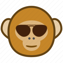 ape, cartoon, cool, emotions, glasses, monkey, smile icon