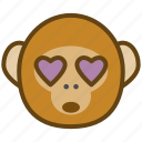 ape, cartoon, emotions, love, monkey, smile icon