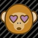 ape, cartoon, emotions, love, monkey, smile