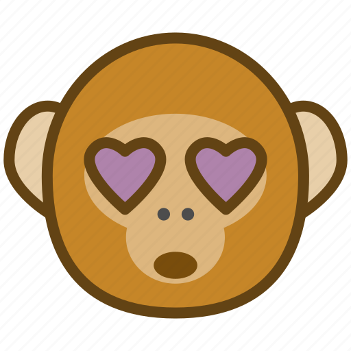 ape, cartoon, emotions, love, monkey, smile icon