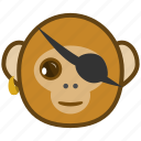 ape, cartoon, emotions, monkey, pirate, smile icon