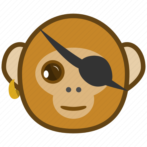 ape, cartoon, emotions, monkey, pirate, smile icon