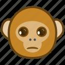 ape, cartoon, emotions, monkey, sad, smile, unhappy