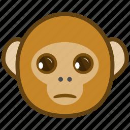 ape, cartoon, emotions, monkey, sad, smile, unhappy icon