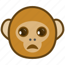 ape, cartoon, emotions, monkey, sad, smile, unhappy icon