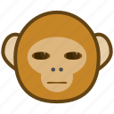 ape, cartoon, emotions, monkey, smile, wary icon