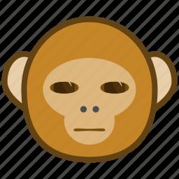 ape, cartoon, emotions, monkey, smile, wary icon