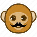 ape, cartoon, emotions, monkey, mustache, smile icon