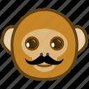 ape, cartoon, emotions, monkey, mustache, smile icon