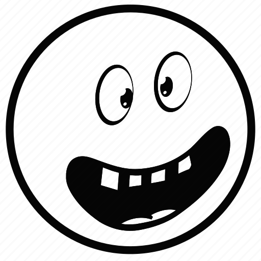 emoji, face, monochrome, smiley, white icon