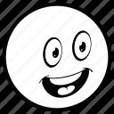 emoji, face, monochrome, smiley, white icon