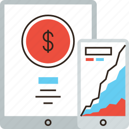 bank, banking, chart, finance, mobile, money, phone, rate, tablet icon