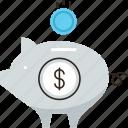 bank, dollar, money, pension, piggy, revenue, save, saving icon