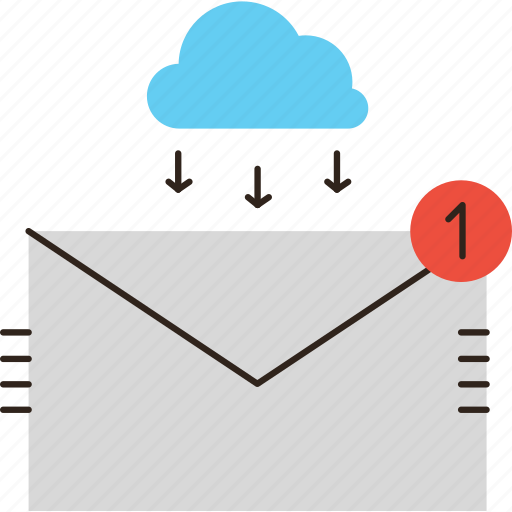 cloud, communication, email, envelope, inbox, mail, message, work icon