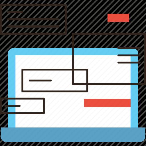 business, computer, laptor, message, notification, organize, work icon